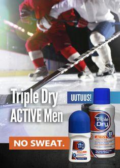 UUTUUS! Triple Dry ACTIVE Men -antiperspirantit mukautuvat kehon lämpötilaan ja antavat lisäsuojaa silloin, kun sitä eniten tarvitaan.
