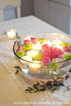 Making candles is easy and floating tea light candles are quicker than other types. Place them in water with floating flowers for a pretty centerpiece.