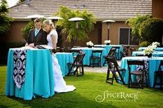 Pretty outdoor wedding with a black and white damask and blue theme. See more damask wedding inspiration: http://www.squidoo.com/damask-wedding-stickers-labels