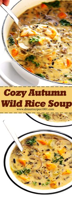 Best Food Recipes: Cozy Autumn Wild Rice Soup This Cozy Autumn Wild Rice Soup is wonderfully creamy and comforting. See tips above for how to modify this recipe to be gluten-free and/or vegan, if you prefer. Fall Recipes, Soup Recipes, Chicken Recipes, Dinner Recipes, Rice Recipes, Recipies, Slow Cooker Recipes, Cooking Recipes, Healthy Recipes