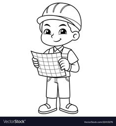 Architect boy look into working plan bw vector image on VectorStock Art Drawings For Kids, Drawing For Kids, Art For Kids, Cartoon Coloring Pages, Animal Coloring Pages, Fun Activities For Kids, Preschool Activities, Kids Vector, Vector Free
