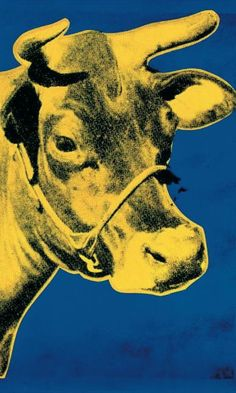 """""""Cow Yellow on Blue Background"""" - Andy Warhol posters and prints available at Barewalls.com"""
