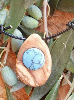 Hand carved Greek Olive Wood necklace inlaid by ellenisworkshop, $32.00