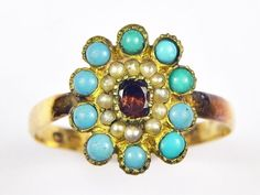 So pretty, lovely quality & very collectible.wearable too! RING SIZE : P or 8 US (can be resized within reason). Antique Gold Rings, Garnet Rings, Turquoise Bracelet, Victorian, English, Pearls, Antiques, Bracelets, Jewelry