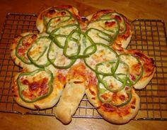 holiday st. patty's food-pizza bagel bites put together ty o make shamrock