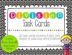 This is a FREE set of 20 long division task cards, including multi-step word problems. All problems have 4-digit dividends with 2-digit divisors. The word problems all require at least 2 steps to solve them, so students will have to think critically and use various problem-solving skills to solve each task card.An answer key is included!