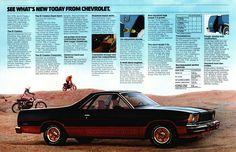 Old car and truck advertisements brochures, Chevrolet El Camino C10 Chevy Truck, Pickup Trucks, Car Brands Logos, Silverado Hd, Classic Chevrolet, Car Advertising, Old Ads, General Motors, Sport