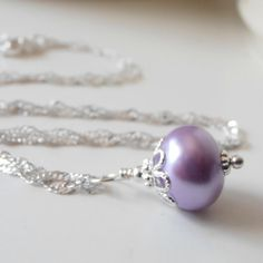 Lilac Bridesmaid Jewelry Purple Pearl Drop Necklace Lavender Bead Pendant Light Purple Wedding Jewelry Wisteria Handmade