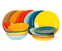 Servizio di piatti in gres Arcobaleno, 18 pezzi