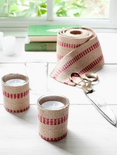 Crafty Candleholders The trick to transforming plain glass votive holders- Humble upholstery webbing Handmade Christmas Gifts, Holiday Crafts, Christmas Crafts, Christmas Decorations, Christmas Ideas, Christmas Candle, Country Christmas, Homemade Christmas, Holiday Decorating
