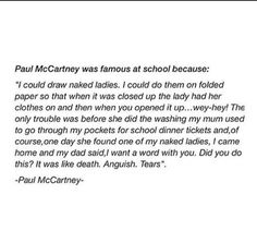 That's Paul McCartney for ya