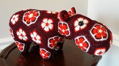 This was a special request for a Va Tech (aka Hokie)hippo. The colors from Knit-Picks were a dead-on match for the official Va Tech colors. Crochet Teddy, Crochet Toys, Knit Crochet, Crochet African Flowers, Flower Crochet, Crocheting Patterns, African Violet, Knit Picks, Flower Ideas