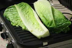 Grilled Romaine Wedge Salad - Rub lettuce heads with olive oil and throw on the grill or george foreman for a unique summer salad! Grilling Recipes, Veggie Recipes, Soup Recipes, Vegetarian Recipes, Cooking Recipes, Healthy Recipes, George Foreman Recipes, George Foreman Grill, Grilled Romaine