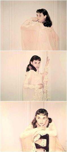 Audrey Hepburn taking publicity photos for Gigi, 1951