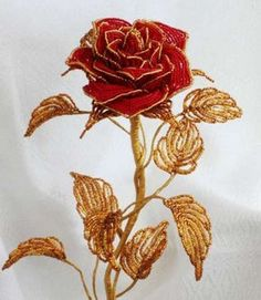 Flowers handmade from pearls