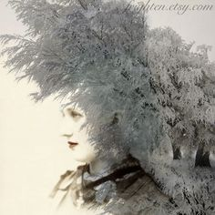 20% Off Black Friday Sale, Winter Art, Mixed Media Collage Print, Ice Queen on Etsy, $20.00