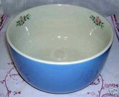 VINTAGE HALL'S ROSE PARADE LARGE POTTERY MIXING BOWL