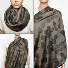 Khaki Infinity Scarf with Black floral pattern - Nursing Cover - Nursing Scarf -Nursing Cover Scarf