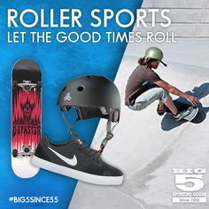 Jump on a skateboard and let the good times roll! Roller Sports, Good Times Roll, No Equipment Workout, Bicycle Helmet, Skateboard, Good Things, Let It Be, Shopping, Skateboarding