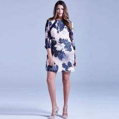 Little Mistress Curvy nude and navy sheer floral tunic dress- at Debenhams.com