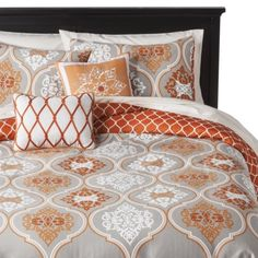 Or maybe orange and grey?  I am in love with this one...Ogee 5 Piece Duvet Cover Set - Orange