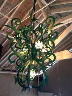rustic iron flowers and swirls chandelier