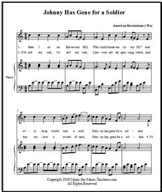 Johnny Has Gone for a Soldier free vocal and piano sheet music for your studio.  Download and print this beautiful music, traditionally associated with the American Civil War and the Revolutionary War.