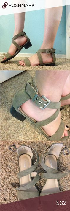strappy olive suede sandals size 6.5!! only worn once! super cushioned on the inside. these have a little heel, and they can totally be dressed up or down. such a pretty olive color. originally purchased for $44. size 6.5. Nicole Shoes Sandals