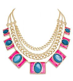 'Nieve' Art Deco Neon Pink & Navy Stone Geo Statement Necklace