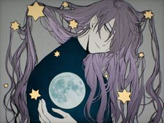 The moon in her hand and the stars in her hair. Hatsune Miku, Haku Vocaloid, Vocaloid Piko, Kaito, Girls Anime, Hot Anime Boy, Anime Guys, Gakupo Kamui, Chibi