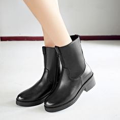 Autumn Winter Martens Boots Riding Style Genuine Leather Round Toe Low Heels Neutral Women Shoes Brown and Black