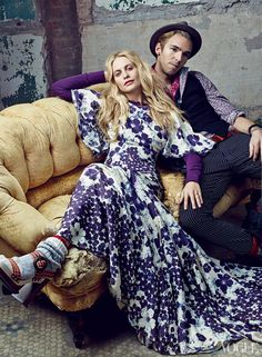 Though the pair—she's a British model living in New York; he works for his family's aerospace business and lives in the English countryside—are rarely in the same place long enough for Delevingne to switch her Pucci dresses for his Dior jeans and Lanvin shirts, that will change when the pair marry next year. On Delevingne: Zac Posen silk twill dress; select Neiman Marcus stores. L.L. Bean henley, $30; llbean.com. Marc Jacobs sandals. On Cook: Tommy Hilfiger vest. Daang Goodman for Tripp NYC…