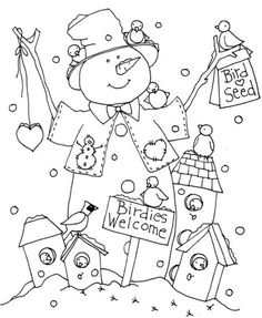 Free Coloring Pages Of Snowman Printable - Printable Coloring Pages To Print Digi Stamps Free, Digital Stamps, Christmas Coloring Pages, Coloring Book Pages, Christmas Embroidery, Hand Embroidery, Vintage Embroidery, Illustration Noel, Bird