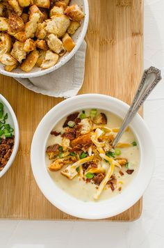 This easy recipe for Slow Cooker Potato Leek Soup is perfect for a cozy day at home and can also be made on the stovetop! Top it with homemade croutons, cheese, bacon pieces, and scallions! #slowcooker #potatoes #potatosoup #leeks #soup Healthy Potato Leek Soup, Healthy Potatoes, Slow Cooker Recipes, Soup Recipes, Cooking Recipes, Healthy Recipes, Cooking Tips, Slow Cooker Potatoes