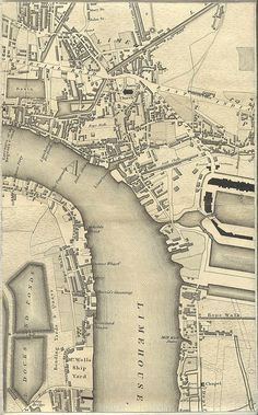 Limehouse, Greenwood's Map of London 1827. Showing Rope Walk (now Ropemakers Field), Ropemakers Street (now Ropemaker's Fields). Also visible is another Rope Walk along the edge of Limehouse Basin, roughly where Northey Street is now.
