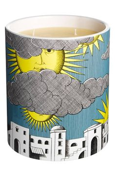 New Arrivals Fornasetti 'Sole di Capri' Large Candle online Italian Painters, Italian Artist, Cartoon House, Piero Fornasetti, Candles Online, Large Candles, Perfume, Luxury Candles, Handmade Candles