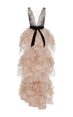 Marchesa V-Neck Tiered Roses Gown