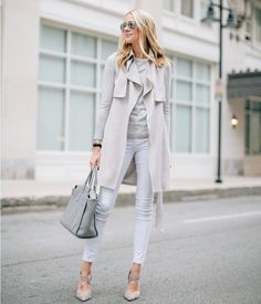 skinny white jeans with gray trench coat