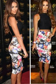 High waisted floral skirt with a black crop top