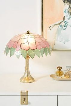 Tiffany Capiz Table Lamp by Anthropologie in Assorted, Lighting Luminaire Vintage, Unique Table Lamps, Lamp Table, Tiffany Lamps, First Apartment, Brooklyn Apartment, Antique Lamps, Vintage Lamps, Bedroom Lamps