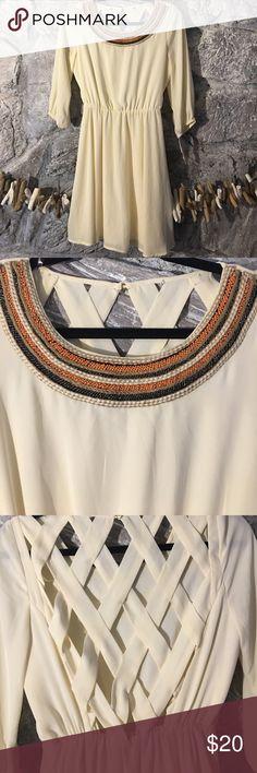 Beaded collar with cutout back dress Orange and dark grey beads on collar with cutout back Dresses Midi