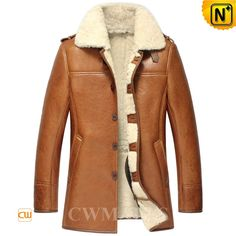 Classic mens designer sheepskin shearling coats, includes quality ...