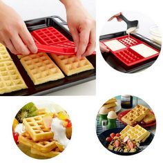 1 X Safety 4-Cavity Waffles Cake Chocolate Pan Silicone Mold Baking Mould Cooking Tools Kitchen Accessories Supplies