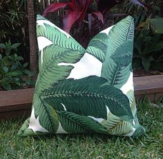 Palm Leaf Cushions, Banana Leaf Outdoor Cushions, Outdoor Pillows Tropical Pillow Covers, Cushion Covers,  Tropical Pillows by MyBeachsideStyle on Etsy https://www.etsy.com/listing/233663537/palm-leaf-cushions-banana-leaf-outdoor