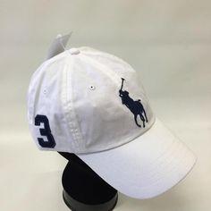 Polo Ralph Lauren Men s White Big Pony 1 Size Adjustable Baseball Cap Hat  c146339f6cbf