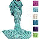 "Amazon.com: ROSEER Knitted Mermaid Tail Blanket Handmade Crochet Blanket For kids Teens Adult All Seasons Sleeping Blanket Warm Soft Snuggly Birthday Christmas present 74""x35"" Green: Home & Kitchen"