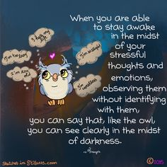 When you are able to stay awake in the midst of your stressful thoughts and emotions, observing them without identifying with them, you can say that, like the owl, you can see clearly in the midst of darkness ♥