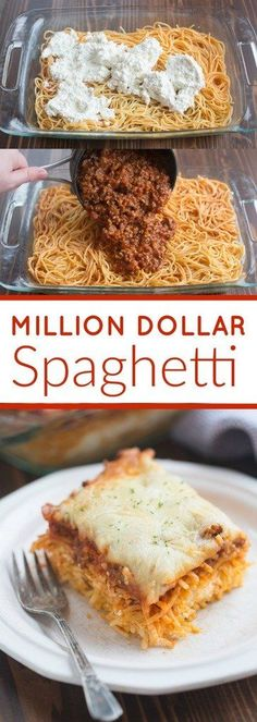 Million Dollar Spaghetti is a DELICIOUS easy dinner idea! The noodles are layered with a cheesy center and topped with a yummy homemade meat sauce and cheese. | tastesbetterfromscratch.com via @betrfromscratch