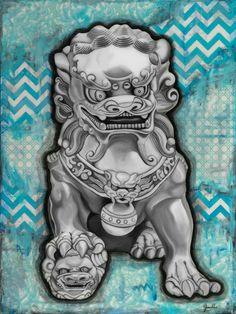 "Blue Fu Dog 11"" x 14"" Metallic Art Print"