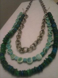 Multi strand turquoise and chainmaille necklace